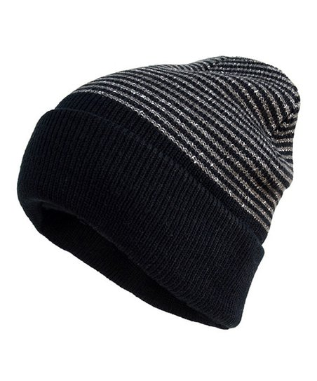 f951765cea4 Beanie Club Black Color Block Stripe Beanie