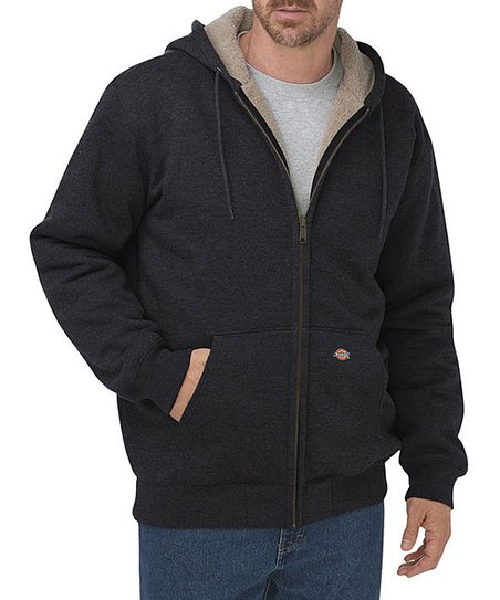 0afcc0da9bcdd love this product Black Faux-Fur Lined Full-Zip Hoodie - Men
