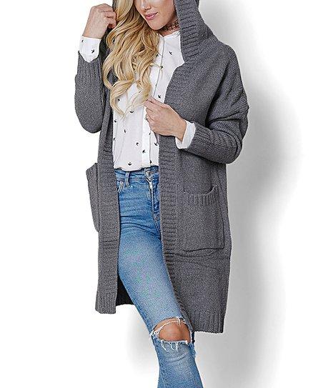 d42a742a98b God Shield Gray Pocket Hooded Open Cardigan - Women