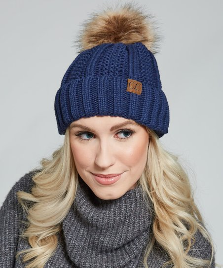 f3af84a112f love this product Navy Cable Knit Fuzzy-Lined Faux Fur Pom-Pom Beanie