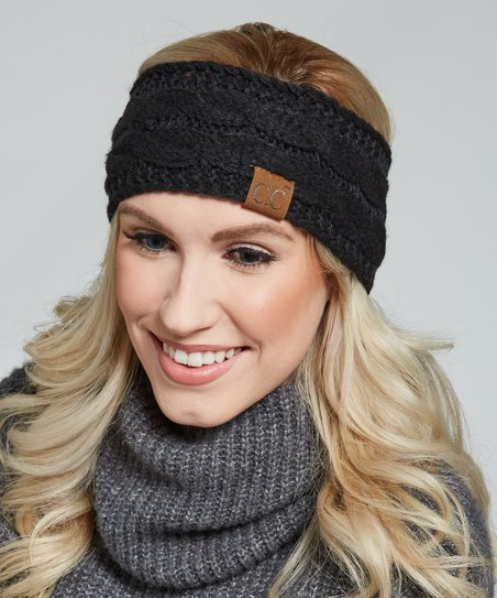 9c8285fc5e5 C.C® Black Cable Knit Sherpa-Lined Head Wrap