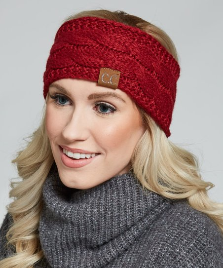 81a1b97a2 C.C® Burgundy Cable Knit Sherpa-Lined Head Wrap