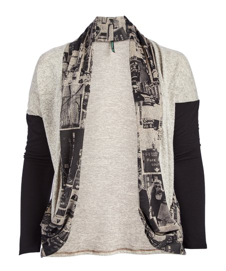 b9ab0d3d3b9 love this product Oatmeal   Black City Graphic Drape-Front Cardigan - Women    Plus