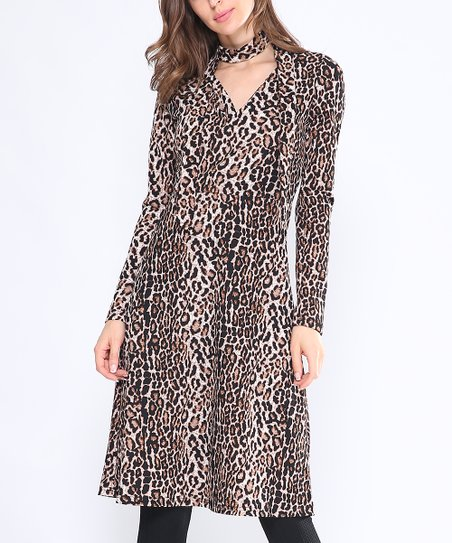 e5a6dbba19e love this product Black   Brown Leopard Scarf-Accent Surplice Tunic - Women