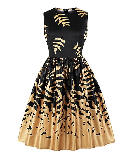 83c997e172cf0 love this product Black & Gold Leaves Sleeveless Tea-Length Vintage Fit &  Flare Dress - Women
