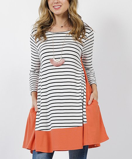 c9933fe82af4 love this product Ash Copper Stripe Contrast-Panel Side-Pocket Swing Tunic  - Women