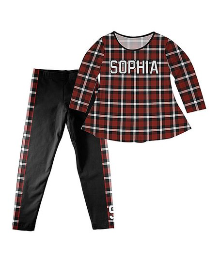 922909f2c23b4 love this product Burgundy Plaid Laurie Name Top & Black Side Plaid-Stripe  Initial Leggings - Infant, Toddler & Girls