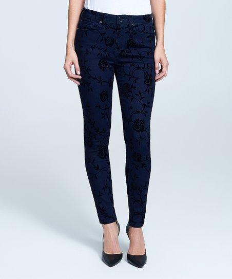 Black Flower Velvet Mid Rise Skinny Pants   Women by Seven7