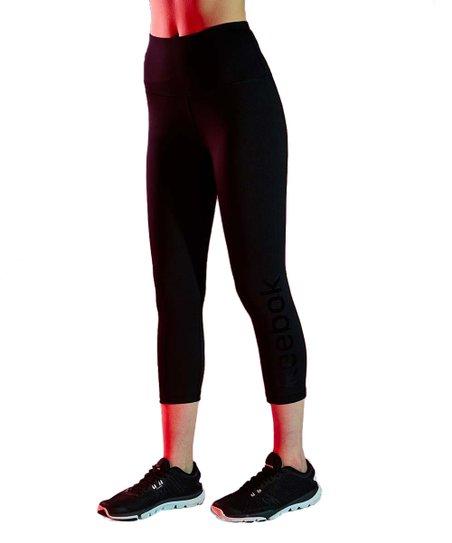 750d93e5f6c3d2 Reebok Black Team Logo High-Rise Capri Leggings - Women | Zulily