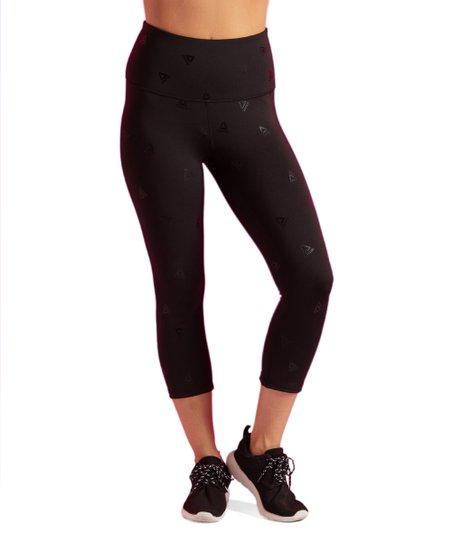 61a1ce2872adc4 Reebok Black Stand Out Logo High-Rise Capri Leggings - Women | Zulily