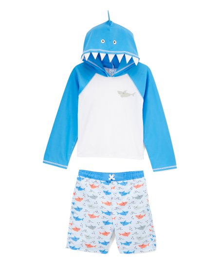 9357895d31 Sol Swim Blue Shark Hooded Rashguard Set - Infant | Zulily