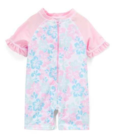 Sol Swim Pink Blue Tropical Hibiscus One Piece Rashguard Infant