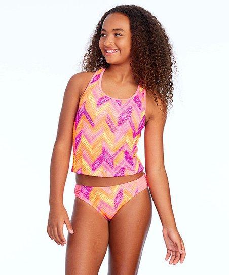f4229f8fe6505 love this product Orange & Pink Crochet Cutie Tankini Top & Bottoms - Girls