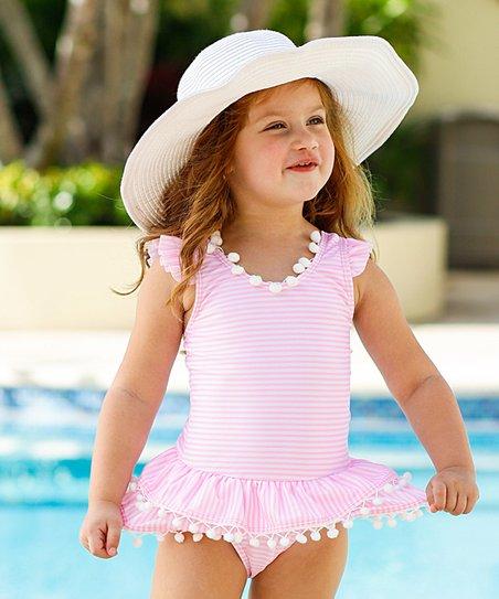 e1fc17df1f7d Mia Belle Girls Pink Stripe Flutter-Sleeve Skirted One-Piece ...