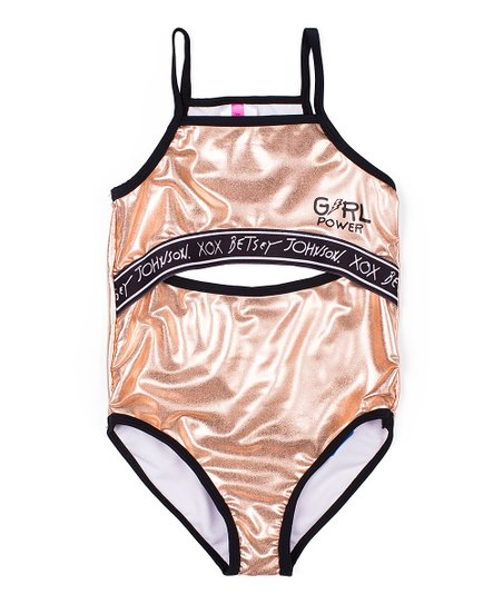 501244b287d love this product Rose Gold Metallic  Girl Power  Cutout One-Piece -  Toddler   Girls