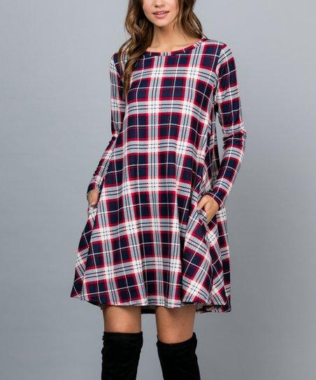 9a6a4903b880 Acting Pro Navy Plaid Pocket Long-Sleeve Shift Dress - Women | Zulily