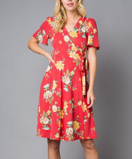 044d5451cc7de Acting Pro Red Floral Short Sleeve Wrap Dress - Women | Zulily
