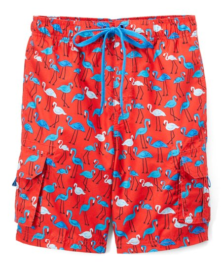848c03ed59a76 love this product Red Key West Flamingo Swim Trunks - Infant, Toddler & Boys