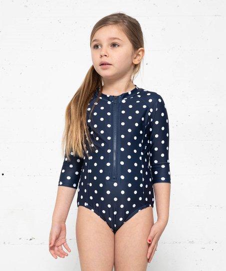 945ba7fa9 love this product Navy & White Polka Dot One-Piece Rashguard - Toddler &  Girls