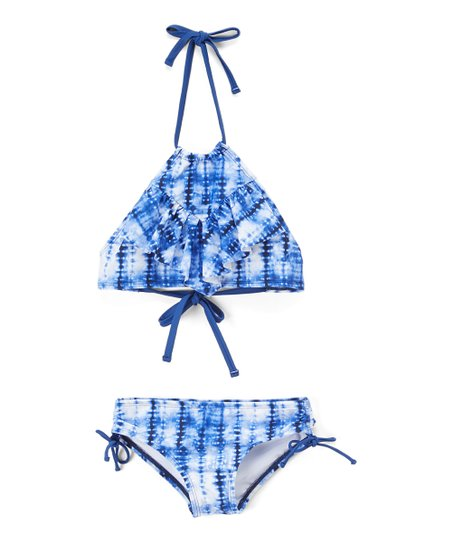 983535244313e love this product Navy Willow Tie-Dye Ruffle Halter Bikini - Toddler & Girls