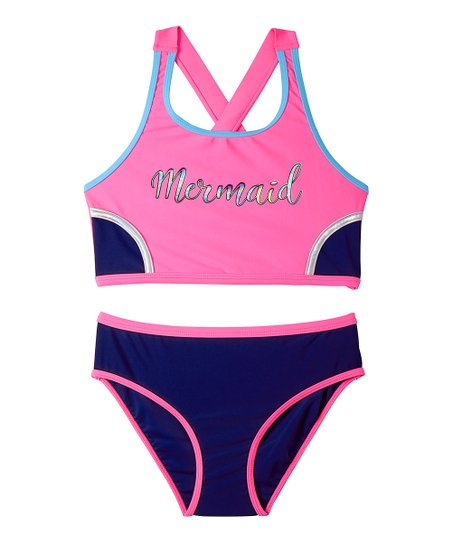 885668bc14743 love this product Sugar Plum & Navy Color Block 'Mermaid' Tankini - Girls
