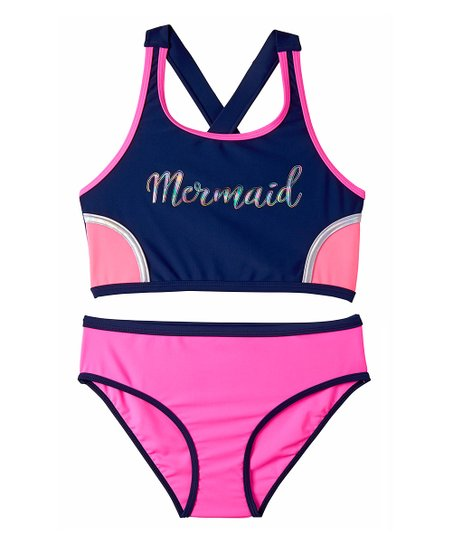 6c3d3b3c1ce91 love this product Navy & Pink Color Block 'Mermaid' Tankini - Girls