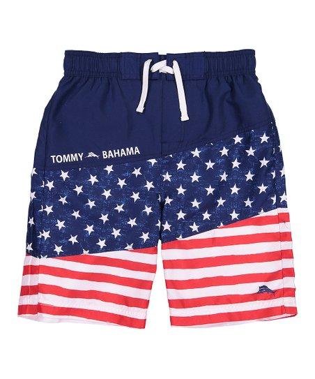 4ecb58f2c8 Tommy Bahama® Navy & Red Flag Swim Trunks - Boys | Zulily