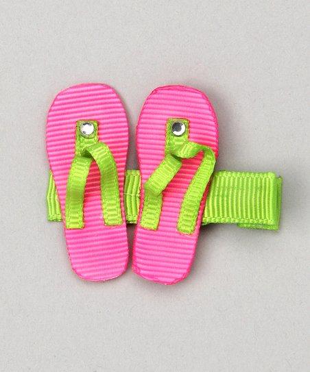 488db0396934d4 Bubbly Bows Pink   Green Flip-Flop Clip