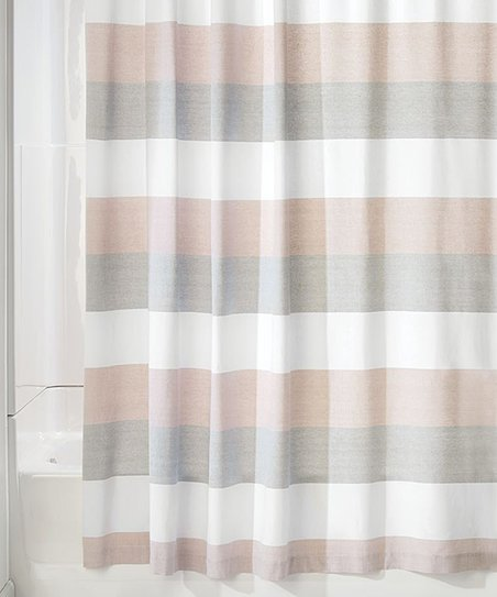 IDesign Blush Gray Stripe Shower Curtain