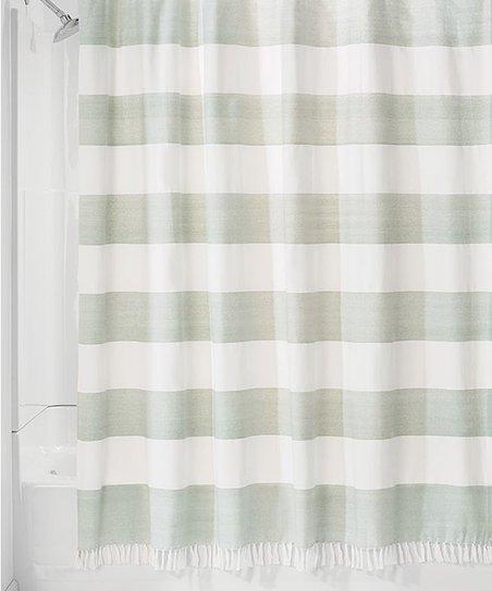 Sage Stripe Fringe Trim Shower Curtain