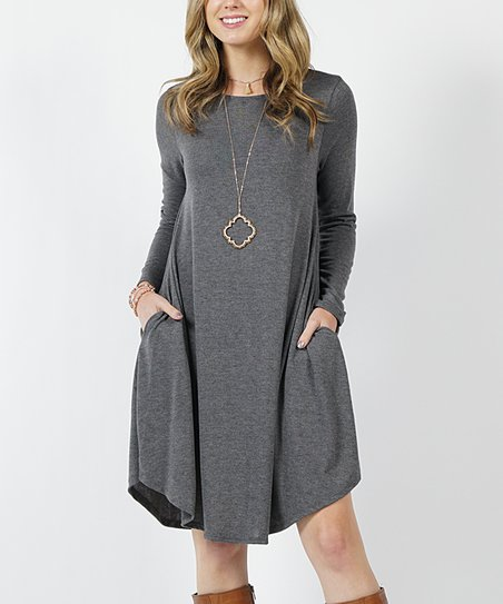 fb8874fd1948 love this product Charcoal Lightweight Pocket Long-Sleeve Sweater Dress -  Women