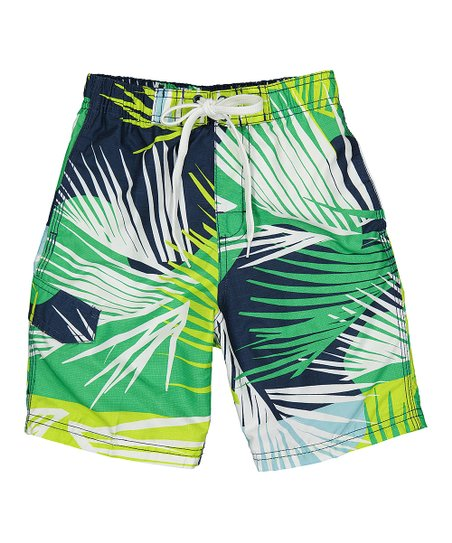 b0ff6a252a Kanu Surf Navy & Green Tahiti Tropical Swim Trunks - Boys | Zulily