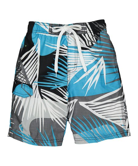 8982763f37 love this product Black & Aqua Tahiti Tropical Swim Trunks - Toddler & Boys