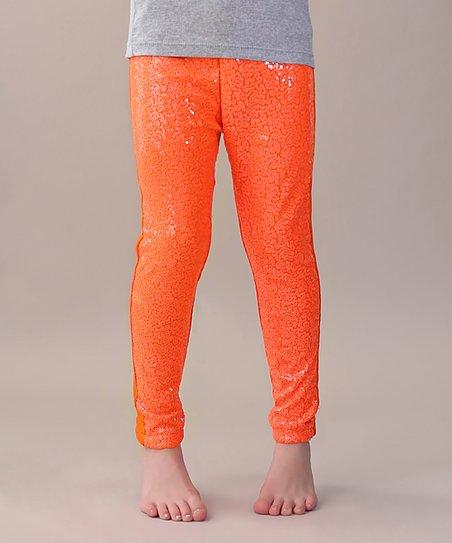 206ea5a019a Whitney Elizabeth Orange Sequin-Front Leggings - Toddler   Girls ...