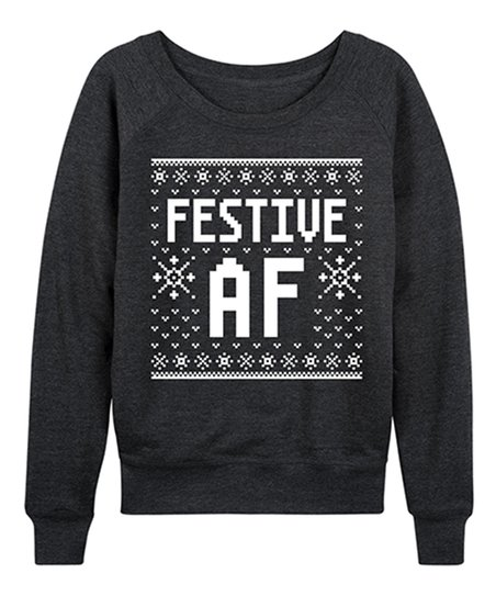 d02e22f70 love this product Heather Charcoal 'Festive AF' Ugly Slouchy Pullover -  Women & Plus