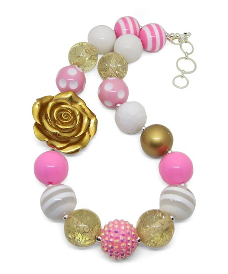 Kenzies Boutique Light Pink Gold Flower Necklace Zulily
