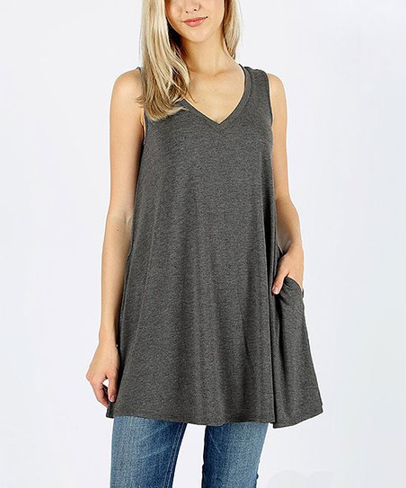 3dfee9c7d4f96 love this product Charcoal Side-Pocket Sleeveless Tunic - Plus