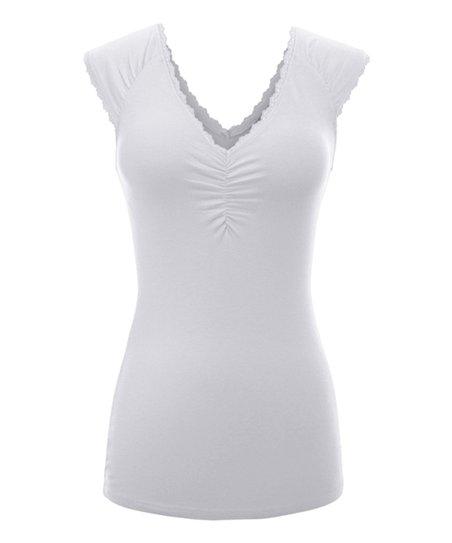 839a578e47 SBS Basics White Lace-Trim V-Neck Sleeveless Top - Women | Zulily