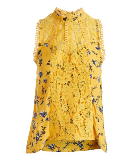 c2f8c83dba713d self esteem clothing Gold Floral Lace-Trim Mock Neck Sleeveless Top ...