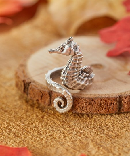 Silvertone Seahorse Ring by Simmly