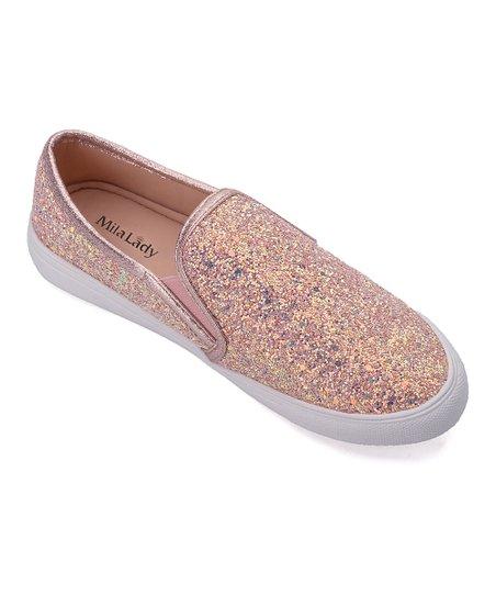 9e65be10c Mila Lady Rose Gold Glitter Cornelia Slip-On Sneaker - Women | Zulily