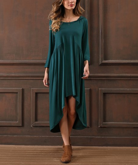 96c7a61d9a love this product Teal Hooded Hi-Low Dress