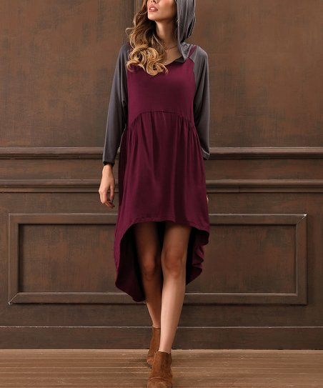 1017557096 love this product Wine & Dark Gray Hooded Hi-Low Dress
