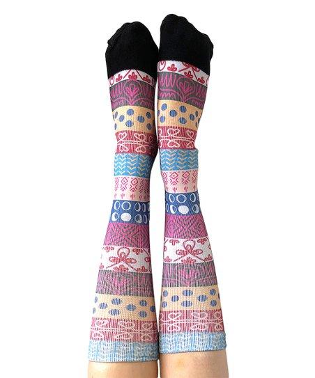 9fadc13bcea love this product Pink   Blue Fair Isle Knee-High Socks - Women