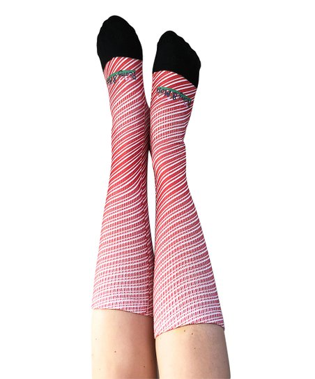 748ba2f659d love this product Red Candy Cane Swirl Knee-High Socks - Women