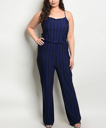 2865f4b1059 love this product Royal Blue Stripe Sleeveless Jumpsuit - Plus