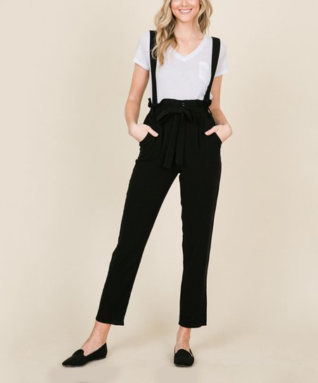 1f2aa4d916f love this product Black Linen-Blend Suspender Jumpsuit - Women