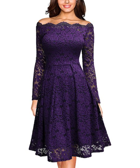 8e3fc8fe54ff love this product Purple Floral Lace Off-Shoulder Fit   Flare Dress - Women