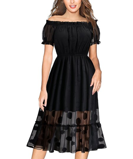 Knitee Black Dot Pleated Off-Shoulder Midi Dress - Women  10c3bc46a
