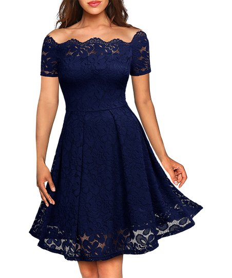 c8a1150e4bec love this product Navy Blue Floral Lace Scalloped Off-Shoulder Fit   Flare  Dress - Women